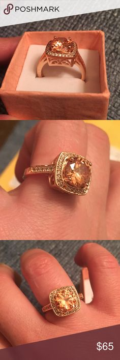SS 18k gold plated ring Cubic zirconia topaz.  Beautiful rose gold plating.. missing one diamond stone as you can see in photo.  Barely noticeable. Jewelry Rings