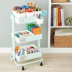 Arts crafts storage cart accessories the container store craft storage shelves products new ideas craft Craft Storage Cart, Art Supplies Storage, Arts And Crafts Storage, Art Storage, Desk Storage, Craft Organization, Craft Supplies, Office Supplies, Baby Supplies