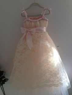 Blush tutu flower girl dress with lace apron by HadandHarps But do red tulle with white lace??