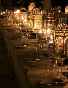 lanterns set an exotic and romantic tone for this outdoor dining experience