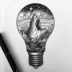 ... Tattoo on Pinterest | Artistic tattoos Light bulb drawing and Moon