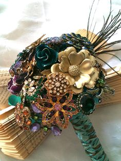 """Brooch Bouquet Vintage inspired """"Shake Your Tail Feathers"""" using vintage brooches"""