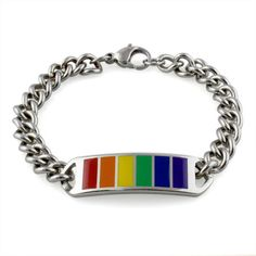 Classic ID Style Rainbow Chain Bracelet - Lesbian & Gay Pride LGBT Wristlet Price: $16.09 http://www.shareasale.com/m-pr.cfm?merchantID=36679&userID=856296&productID=545980097