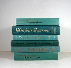 Ocean Blue Green Vintage Decorative Books by DecadesOfVintage
