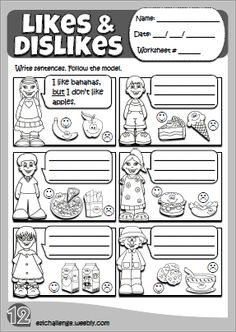 Likes & dislikes - worksheet 8 Primary English, Kids English, English Words, Learn English, English Language Learners, Language Lessons, English Vocabulary, English Teaching Materials, English Teaching Resources