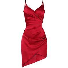 Shape Burgundy Satin Wrap Dress ($38) ❤ liked on Polyvore featuring dresses, burgundy dress, red satin dress, wrap dress, red dress and red wrap dress