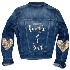 Always Stay Humble and Kind Tim Mcgraw Shirt Heart Elbow Patch Sequin... (3.940 RUB) ❤ liked on Polyvore featuring outerwear, jackets, blouses, grey, tops, women's clothing, grey denim jacket, grey jacket, jean jacket and grey jean jacket