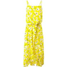 Rochas floral print dress ($1,770) ❤ liked on Polyvore featuring dresses, silk dress, yellow floral print dress, rochas, botanical dress and yellow dress