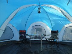 rockport 4 room large family camping tent...peep the Patriots lawn chair ;)