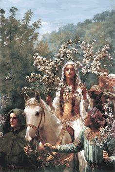 The Maying Of Queen Guinevere - A beautiful painting in the Pre-Raphaelite style depicting Queen Guinevere being led on horseback dressed in her finest May Day costume amidst. more by John Collier Roi Arthur, King Arthur, Wiccan, Pagan, Wicca Witchcraft, Beltaine, Lancelot And Guinevere, Images Esthétiques, John Everett Millais