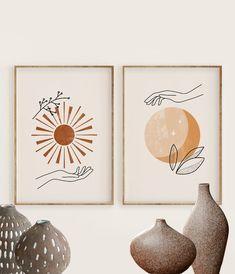 Boho Terracotta Sun and Moon Print Set of Hands holding sun, Celestial Art Art Floral, Minimal Art, Art Minimaliste, Afrique Art, Moon Print, Diy Canvas, Abstract Wall Art, Diy Art, Art Decor
