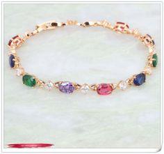 new 2014 18k Yellow Gold  Bracelet ! Multicolor CZ stones Cluster Bracelets for Women's fashion jewelry B185 Free shipping $7.50