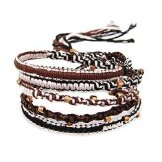If your looking for an edgy new bracelet, our Chen Rai Beaded Macrame Wrap Bracelet is a great way to do it! This lovely wrap bracelet has black, brown, and beige Macrame colors with small diamond cut gold beads all along the bracelet. Pair this wrap bracelet with other fun Chen Rai wrap bracelets and have a great and unique look!
