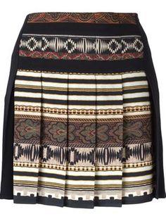 aztec print pleated skirt