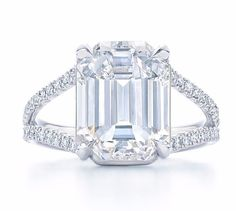GIA Certified 2.00Ct Split Shank Flawless Emerald Cut Diamond Engagement Ring  #SolitairewithAccents