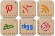 Iconset: Hand Stitched Social Icons by DesignBolts (20 icons)