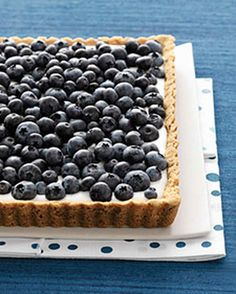 Blueberry and Buttermilk Tart | Martha Stewart Living - Tangy buttermilk custard pairs beautifully with the sweet, plump blueberries that top this seasonal tart.