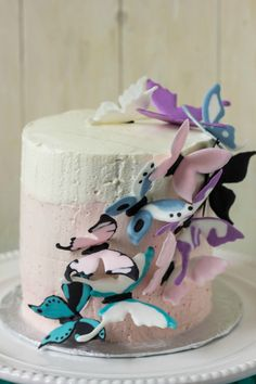 Pink Ombre Cake with Royal Icing Butterflies! Plus a recipe for banana cake and strawberry Swiss meringue buttercream (all natural colouring.)