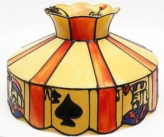 """Vintage 18"""" Diameter FAUX STAINED GLASS PUB POKER TABLE LAMP PLAYING CARDS MOTIF"""