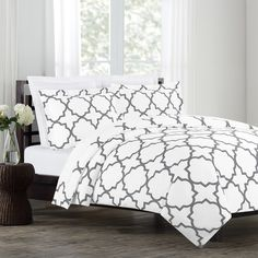 Echelon Home Quatrefoil Cotton 3-piece Duvet Cover Set
