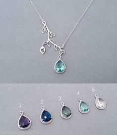 Zirconia-Teardrop-Crystal-Branch-Necklace-Bridemsaid-Gift-Personalised-Jewelry