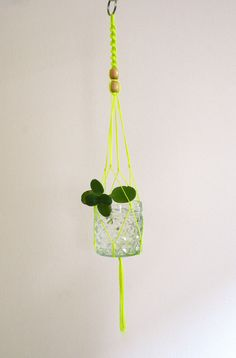 OBSESSED! Small macrame plant hanger neon yellow by kitiyapalaskas on Etsy, $35.00