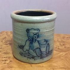 1991 Hand Made Rowe Pottery Teddy Bear Crock in Pottery & Glass, Pottery & China, Art Pottery, Rowe | eBay