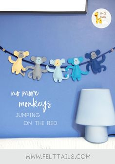 No More Monkeys Jumping on the Bed! This super cute felt garland makes the perfect nursery decor for a newborn baby boy or a lovely thoughtful gift for a toddler's birthday or baby shower. Baby Nursery Decor, Project Nursery, Nursery Themes, Baby Decor, Girl Nursery, Nursery Ideas, Nursery Room, Monkey Decorations, Handmade Decorations