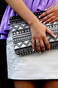 white leather skirt @ www.samieze.com aztec clutch