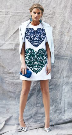 Stella McCartney Heart Print Cotton-Blend Dress in Pure White with Barbara Bui Lambskin Moto Jacket in Ice