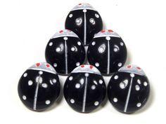 (6) VTG HAND PAINTED BLACK LADYBUG CZECH OR GERMAN Glass SELF SHANK Buttons NOS