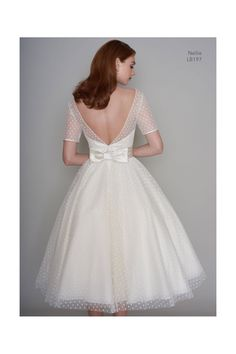 Loulou Bridal NELLIE Tea Length Polka Dot Short Vintage Wedding Dress With Sleeves - Short Wedding Gowns - [post_tags Wedding Dress Backs, Vintage Inspired Wedding Dresses, Bridal Wedding Dresses, Wedding Vintage, Trendy Wedding, 1950s Wedding Dresses, 50s Style Wedding Dress, Polka Dot Wedding Dress, Bridal Gown