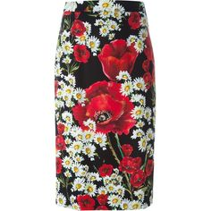 Dolce & Gabbana daisy and poppy print skirt ($840) ❤ liked on Polyvore featuring skirts, black, print skirt, multi colored skirt, colorful skirts, mid length skirts and poppy skirt