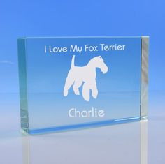 Fox Terrier Dog Lover Gift Personalised Engraved Glass Paperweight Ornament - Add Your Message -  Birthday, Christmas Gift, Dog Memorial