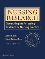 Nursing research : generating and assessing evidence for nursing practice | 2017