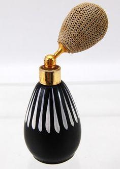 Midcentury HP Black White Perfume Atomizer Bottle