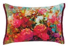 Some say that bringing flowers into your home makes you happier. We couldn't agree more. Precisely why we created a digital image of exquisite roses and hand-printed it atop sumptuous cotton sateen. Reverses to a soft cotton velvet in pine green and finished with satin trim. #pillow #accentpillow
