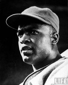 "LIFE - Jackie Robinson  Baseball great Jackie Robinson during filming of ""The Jackie Robinson Story"".  Location: CA, US  Date taken: March 1950  Photographer: J. R. Eyerman"