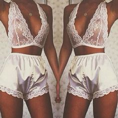Sexy Women's Summer 2pcs Hollow Out Lace Halter Sleepwear Suit Set Bottoming Culottes