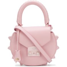 Salar studded mini Thunder tote featuring polyvore women's fashion bags handbags tote bags mini tote leather tote handbags leather purses leather tote purse pink leather tote