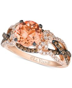 Le Vian Chocolatier® Peach Morganite™, Chocolate Diamonds® and Vanilla Diamonds® Ring in Strawberry Gold® Le Vian Shop - Jewelry & Watches - Macy's