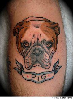 Pig and angry dog tattoo on arm, Dog tattoos on arms Great Tattoos, Unique Tattoos, Dog Tattoos, Girl Tattoos, Tatoos, Flash Tattoos, Tank Tattoo, Bulldog Tattoo, Tattoo Project