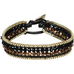Nakamol Bracelet (29 CAD) ❤ liked on Polyvore featuring jewelry, bracelets, black, leather bangles, nakamol, nakamol jewelry and leather jewelry