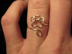 Wire Wrapped Paw Print Adjustable Ring