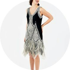 1920s black and silver dress
