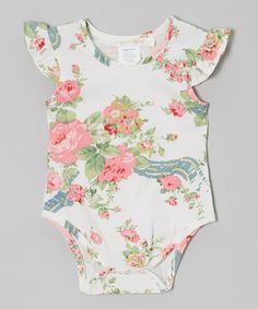 in love with this onsie! 19.60 White & Pink Floral Bodysuit - Infant