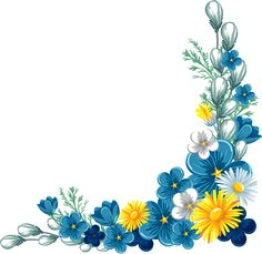 Yellow And Blue Flowers Png Page Borders Design, Border Design, Borders For Paper, Borders And Frames, Flower Frame, Flower Art, Vintage Flowers, Blue Flowers, Flowers Free Download