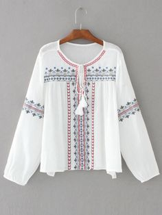 Shop White Embroidery Tassel Tie Blouse online. SheIn offers White Embroidery Tassel Tie Blouse & more to fit your fashionable needs.