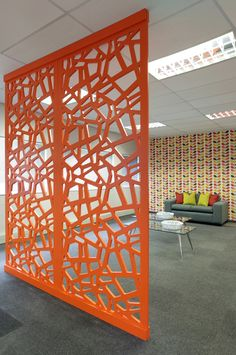 Bright vibrant colorful screens. Bespoke Laser cut Screens, Dividing Screens, Offices