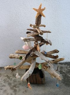 Driftwood Christmas Tree with Sea Star And Ornaments